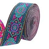 PandaHall Cinta jacquard vintage de 7 yardas de 1.2 pulgadas de cinta tejida emmobridered ribete de tela flecos para bricolaje ropa accesorios adornos decoraciones