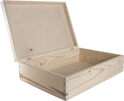 WooDeeDoo - Cajas rectangulares de pino, madera, natural, 35 x 25 x 10 cm: Amazon.es: Hogar