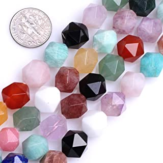 GEM-Inside Multicolor Gemstone Loose Beads Natural 12mm Faceted Semi Precious Cambay Stone Power for Jewelry Making 15