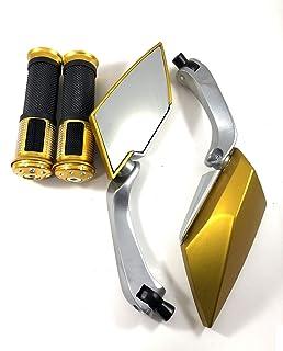 快適走行 バイク カスタム ミラー 左右 セット グリップ セット バックミラー ネジ 8mm 10mm