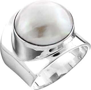 White Mabe Cultured Pearl Bali Artisan 925 Sterling Silver Ring