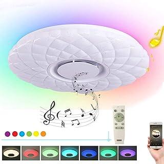 HOREVO 24W Ø40cm Lámpara Plafón de techo con mando a distancia con altavoz Bluetooth integrado RGB Cambio de color, APP Disponible, ideal Para Salón, Dormitorio Fiesta