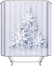 Epinki Polyester Shower Curtain Decorative Bathroom Accessories White Snowflake Christmas Tree Bathroom Curtain with 12 Ho...