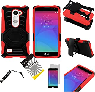 For LG Leon LTE C40 /H320 /LG Power L22C/LG Destiny L21G / ITUFFY (TM) 3items Combo: LCD Screen Protector Film + Stylus Pen + 2Tone Design (Dual Layer- Plastic Cover + Soft Rubber Silicone) Built-in KickStand Impact Resistance Tuff Armor Case (OStand - Black / Red)