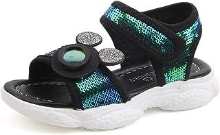 Charming Deer Girls' Open Toe Summer Fashion Flat Sandals Rhinestone Princess Outdoor Sport Casual Sandals