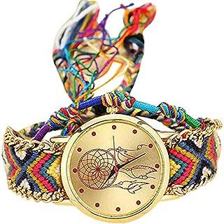 BIGBOBA Weaving Dreamcatcher Bracelet Watch Wristwatch Anniversary Gifts Valentine's Day for Womens Ladies