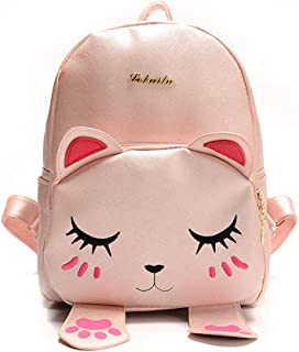 Mini Backpack For Girls Cute Cat Design Fashion Leather Bag Women Casual Fashion (Pink)