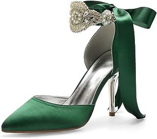 LGYKUMEG Chaussures De Mariée pour Femmes Satin Bout Pointu Talon Haut Bride Cheville Escarpins Perlé Ruban Chaussur,Dark ...