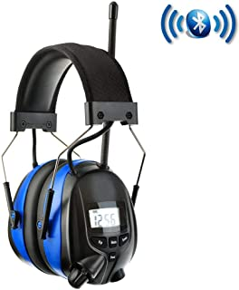 PROTEAR Noise Reduction Wireless Earmuffs with Bluetooth AM FM Digital Radio,NRR 25dB Professional Ear Hearing Protection Headphones with Rechargeable Battery,Electronic Ear Defenders for Mowing Lawn