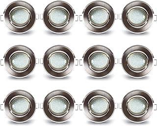Lampaous - Juego de 12 focos LED empotrables de aluminio con 5 W, 400 lm, módulo LED de cerámica, luz blanca cálida, 230 ...