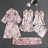 HKVML Ropa de Dormir Mujer 5PCS Conjunto de Pijamas Satén Pyjamamas Encaje Patchwork Nupcial Boda Ropa de Dormir Rayón Ropa para el hogar Nighty & amp; Traje de Bata, Rosa C, XXL