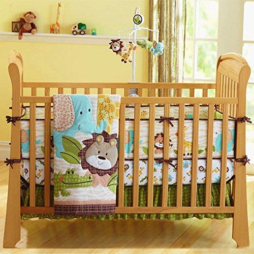 USTIDE 7-Piece Nursery Cot Bedding Set Cute Lion Safari Baby Boy Crib...