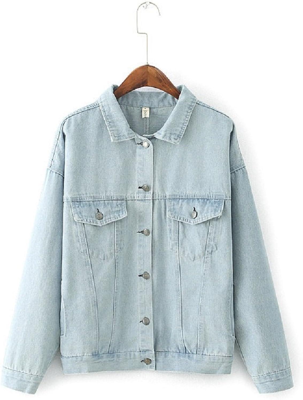JudyBridal Womens Long Sleeve Jean Jacket Boyfiend Causual Denim Jacket Coat