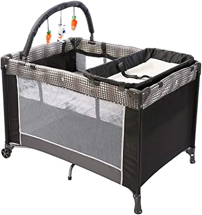 ALBB Travel Cot from Birth  Playards Wheels  Pockets  Carry Bag  Small Foldable Bed