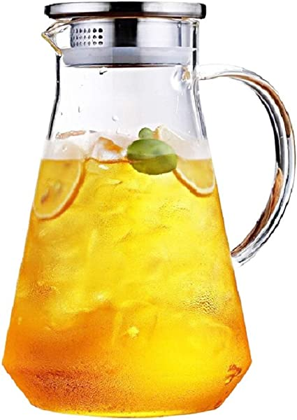 SmartHom 68 Ounces Glass Pitcher Drip Free Water Pitcher With Tight Lid And Pretty Brush
