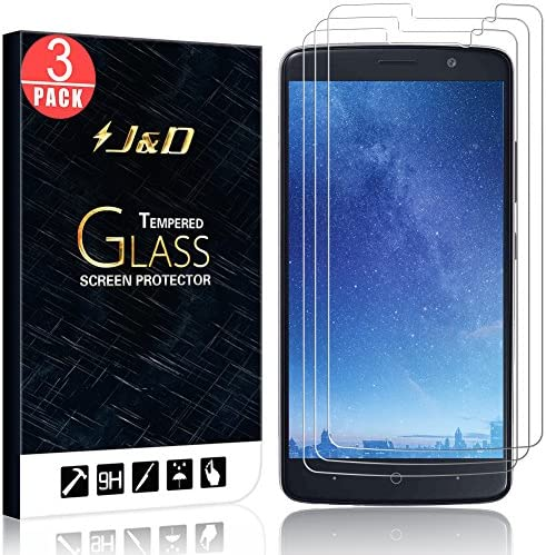 J D Compatible for ZTE Blade Max 3 ZTE Max XL ZTE N9560 Glass Screen Protector 3 Pack Not Full product image