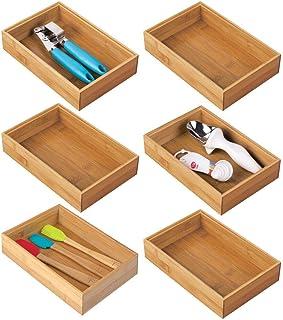 mDesign bac de rangement pour cuisine (lot de 6) – rangement tiroir en bambou – rangement cuisine empilable pour couverts,...
