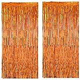 GGBOY 3.2 x 6.6 Feet, 2 Pcs ,Shiny Orange Metallic Foil Fringe Curtain Backdrop,Tinsel Streamers Backdrop for Birthday Baby Shower Graduation Wedding Bachelorette Holiday Celebration Party Decorations