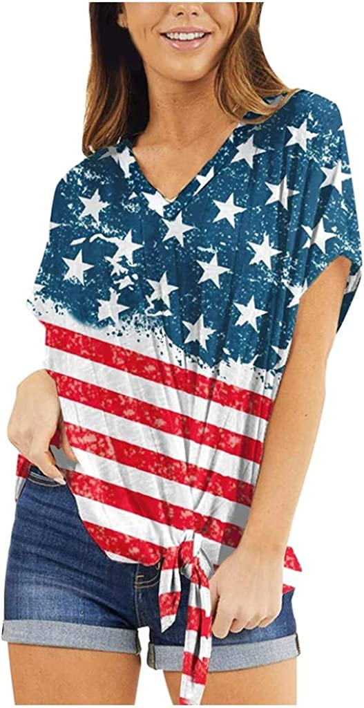 Women Plus Size Casual Blouse Short Sleeve Stripes American Flag Print Lace Top