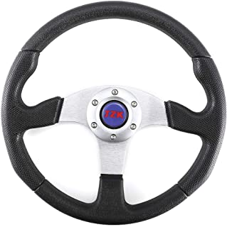 JZK New Classic Universal Steering Wheel 350mm 6 Bolts Black PU Material Grip and Brushed Stainless Spokes