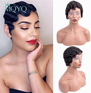MQYQ Finger wave wig 100% human hair Wigs lace front, Mommy Wig Brazilian Short pixie cut wigs Virgin Hair Wig Fashion Style Natural Color (Lace Front)