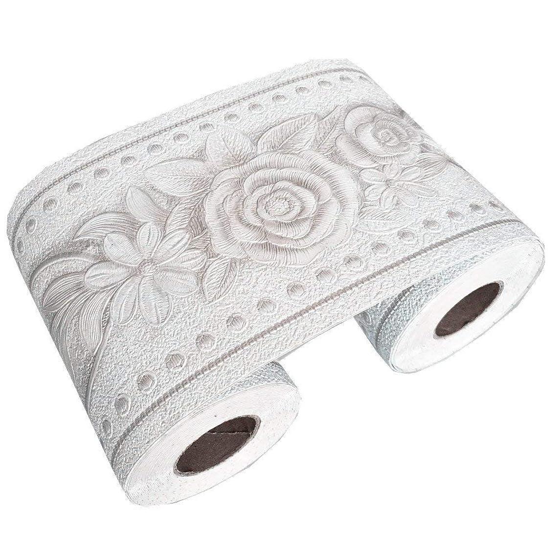 絡まる野な割れ目10cm x 5m ヨーロッパ式花柄 ウォールステッカー インテリアマスキングテープ ボーダーシート リメイクシート 壁紙シール (ホワイト)