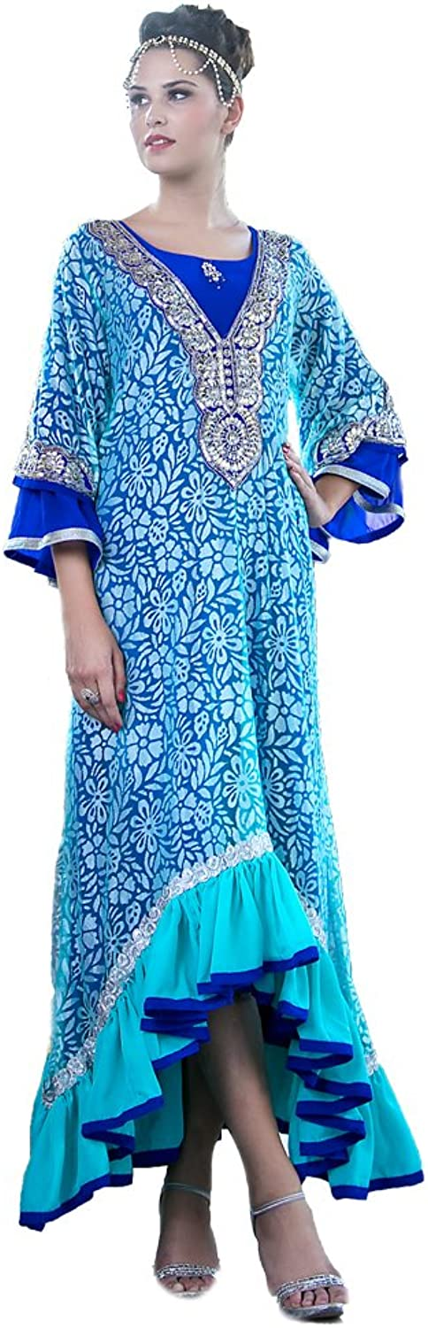 Kolkozy Fashion Women's Mgoldccan Wedding Kaftan bluee