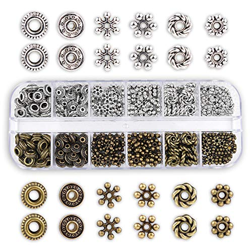 300pcs 6 Style Antique Silver Bronze Spacer Beads Tibetan Metal Spacers Jewelry Findings Accessories for Bracelet Necklace Jewelry Making