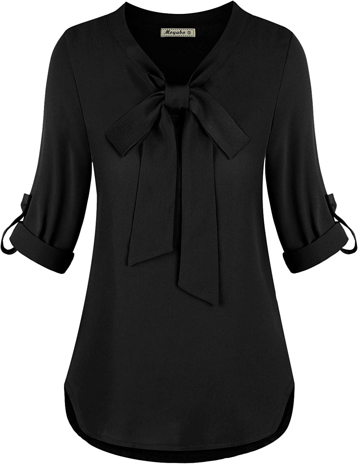 Moyabo Womens Bow Tie Neck Long Sleeve Casual Office Chiffon Blouse Top