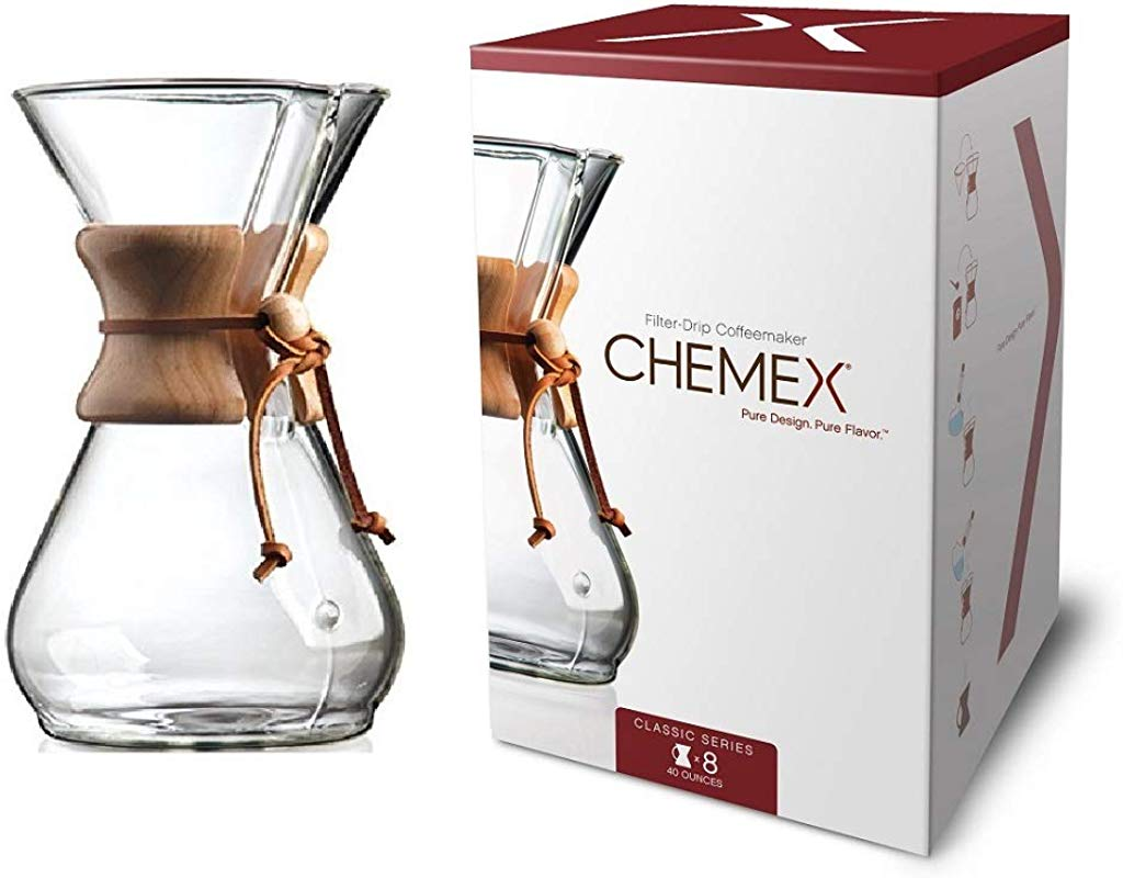 Chemex Classic Series Pour Over Glass Coffeemaker 8 Cup Exclusive Packaging CM 8A