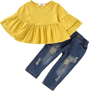 NZRVAWS Girls Pants Set Infant Ripped Jeans Floral Long Sleeve T Shirt Tops Toddler Ruffle Outfits for Fall
