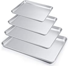 P&P CHEF Baking Sheets Set of 4, Baking Trays Pans Cookie Sheets Stainless Steel, Various Size Large to Small, Healthy & N...