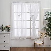 Witte tule gordijnen in de woonkamer tule voor ramen kleine gordijnen voile boog decoratie-Wit_W200 x H200cm_China_Velcro