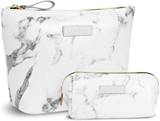 NiceEbag Large Makeup Bag Small Cosmetic Pouch for Purse Handy Makeup Bags Set Cute Travel Toiletry Organizer for Women, Cosmetics, Make Up Tools, Toiletries (2 in 1,Marble)
