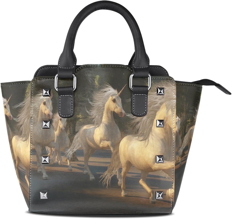 Sunlome Magical Unicorn Forest Print Handbags Women's PU Leather Top-Handle Shoulder Bags