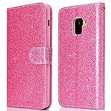 Galaxy A5 2018 Coque à Rabat Glitter, Galaxy A8 2018 Étui de Téléphone Rose, Cuir Fentes de...