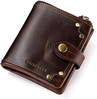 RFID Wallets for Men Slim - Personalized Wallets for Men - Brown Wallets for Men - Rivet Decorative Coin Purse, Perfect Gi...