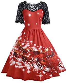 Christmas Womens Party Evening Dress Vintage Xmas Swing Lace Patchwork Dress Winter