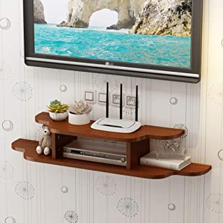 Floating Tv Console, 2 Tier Wall Mounted Tv Shelf Floating Media Console for Cable Boxes Routers Remotes DVD Players Cd Decor