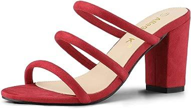 Allegra K Women's Open Toe Block Heel Slide Mules Sandals