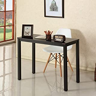 Need Small Laptop Desk for Small Space Computer Table (Black Walnut Color Desktop & Black Steel Frame) 36