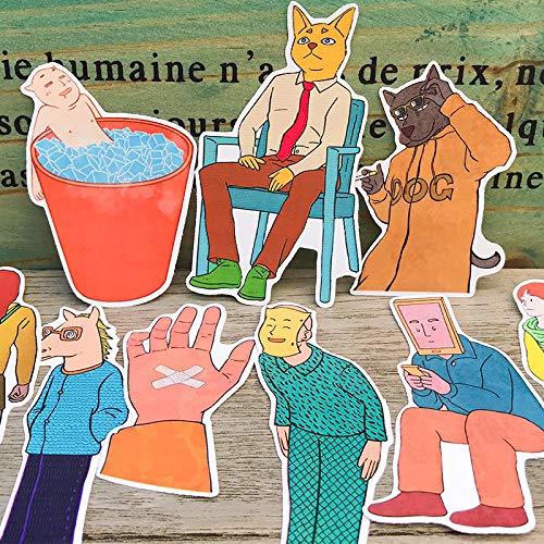 Preisvergleich Produktbild PMSMT 16PCS Lustiger Cartoon Papieraufkleber Basteln und Scrapbooking Aufkleber Kinderspielzeug Buch Dekorativer Aufkleber DIY Briefpapier
