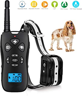 TEMEISI Dog Training Collar,Dog Shock Collar with Remote,with Beep/Vibration/Electric Shock/Light Modes,100% Waterproof Bark Collar,Safe for Small Medium Large Dog