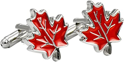 ENVIDIA Red Maple Leaf Enamel Cufflinks Silver Plated Fashion Wedding Party Gifts with Box
