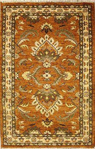 Ethnischer Teppich 91 x 152 Perserteppich PAK Original handgeknotet Muster ZIEGLER Farbe: Orange...