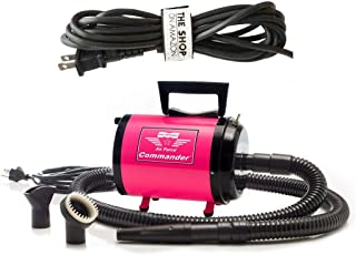Metrovac's Air Force Commander Professional Pet Grooming Dryer - Portable, 2 Speed 4.0HP Motor - Ideal for Double-Coated Dogs - 5 Unique Colors (Pink-220V)