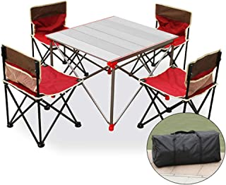 Voolok Lightweight Portable Aluminum Outdoor Folding Table  with Oxford Chairs  Waterproof and Scratch Resistant  Stable and Durable  for Picnic Camping BBQ