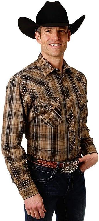 Maverick Western Brown Plaid PolyCotton Permanent Press Long Tails Pearl Snap Shirt Men/'s Large 16 12-35