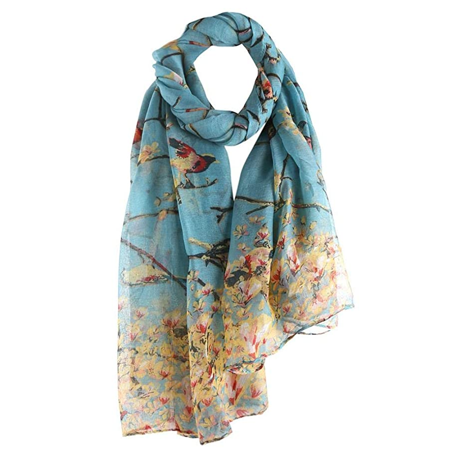 Large Scarf Women Cozy Travel Wraps Shawl BCDshop Floral Printed Trendy Spring Fall Scarves (Sky blue)
