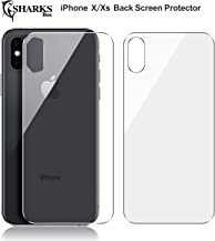 (2 Pack) SHARKSBox iPhone Xs/X Back Screen Protector for Apple iPhone Xs/X [Lifetime Replacements][Case Friendly] Back Temper Glass Screen Protector Rear Film Compatible with iPhone Xs/X 5.8
